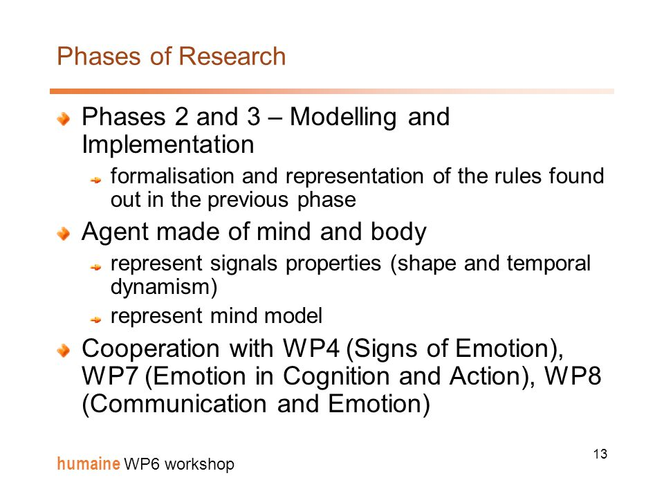 13 humaine WP6 workshop Phases of Research Phases 2 and 3 – Modelling and Implementation formalisation and representation of the rules found out in the previous phase Agent made of mind and body represent signals properties (shape and temporal dynamism) represent mind model Cooperation with WP4 (Signs of Emotion), WP7 (Emotion in Cognition and Action), WP8 (Communication and Emotion)
