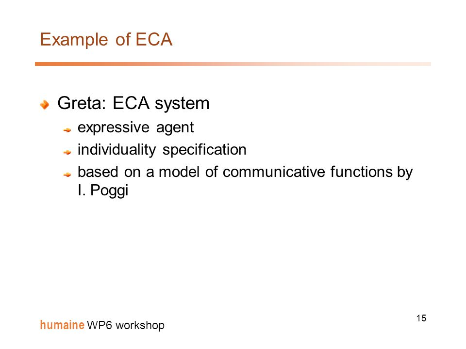 15 humaine WP6 workshop Example of ECA Greta: ECA system expressive agent individuality specification based on a model of communicative functions by I.