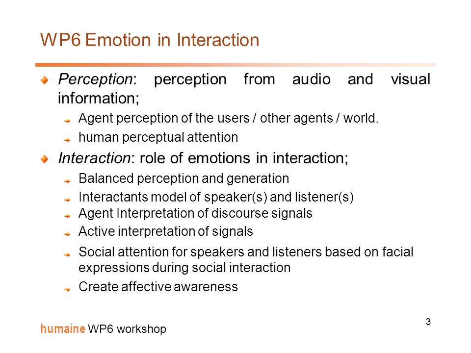 3 humaine WP6 workshop WP6 Emotion in Interaction Perception: perception from audio and visual information; Agent perception of the users / other agents / world.