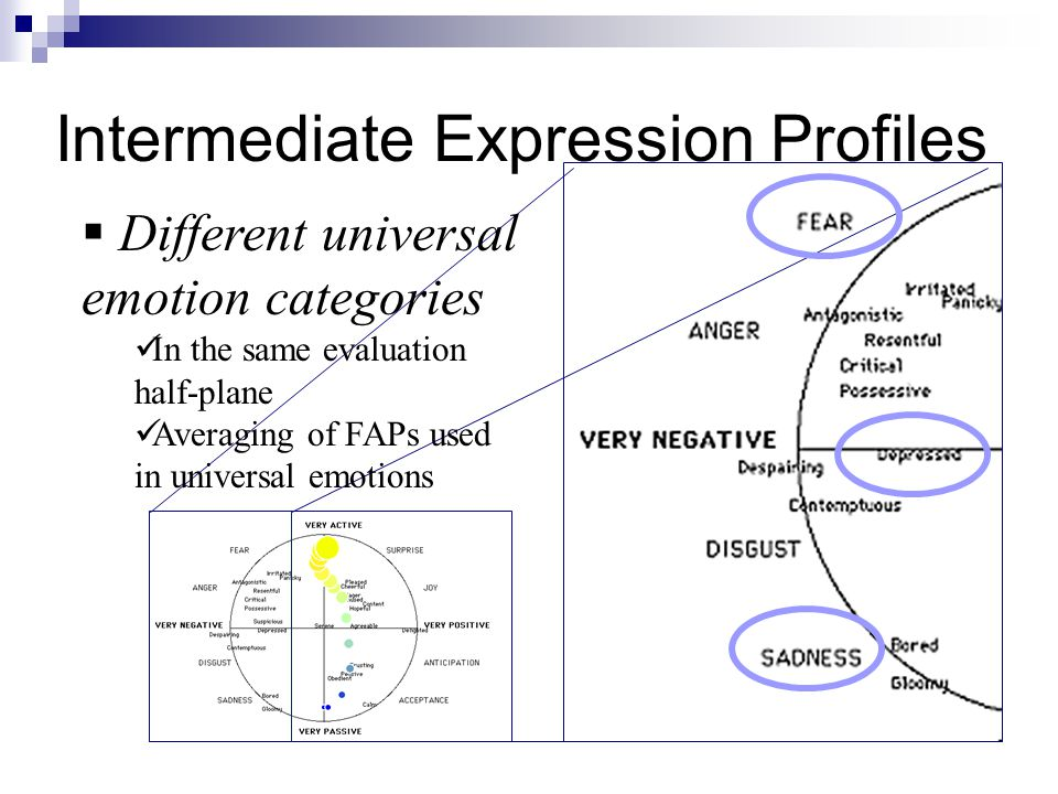 Intermediate Expression Profiles  Different universal emotion categories In the same evaluation half-plane Averaging of FAPs used in universal emotio