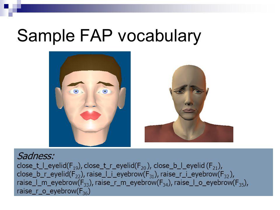 Sample FAP vocabulary Sadness: close_t_l_eyelid(F 19 ), close_t_r_eyelid(F 20 ), close_b_l_eyelid (F 21 ), close_b_r_eyelid(F 22 ), raise_l_i_eyebrow(F 31 ), raise_r_i_eyebrow(F 32 ), raise_l_m_eyebrow(F 33 ), raise_r_m_eyebrow(F 34 ), raise_l_o_eyebrow(F 35 ), raise_r_o_eyebrow(F 36 )