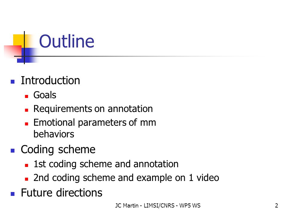 JC Martin - LIMSI/CNRS - WP5 WS2 Outline Introduction Goals Requirements on annotation Emotional parameters of mm behaviors Coding scheme 1st coding s