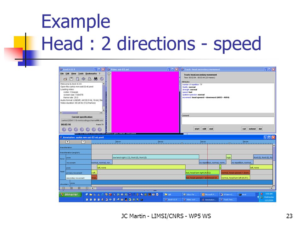 JC Martin - LIMSI/CNRS - WP5 WS23 Example Head : 2 directions - speed