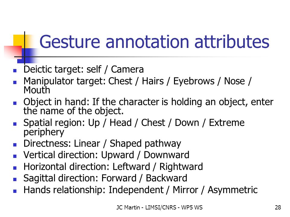JC Martin - LIMSI/CNRS - WP5 WS28 Gesture annotation attributes Deictic target: self / Camera Manipulator target: Chest / Hairs / Eyebrows / Nose / Mo