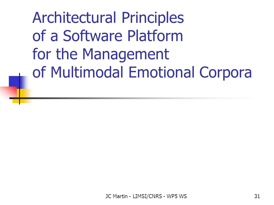 JC Martin - LIMSI/CNRS - WP5 WS31 Architectural Principles of a Software Platform for the Management of Multimodal Emotional Corpora