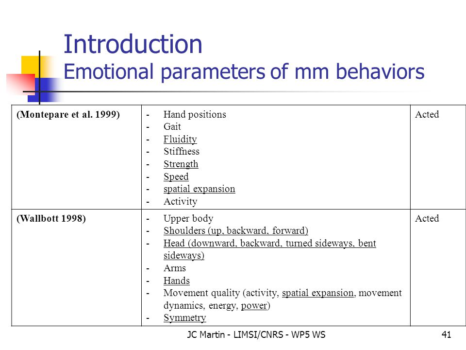 JC Martin - LIMSI/CNRS - WP5 WS41 Introduction Emotional parameters of mm behaviors (Montepare et al. 1999)-Hand positions -Gait -Fluidity -Stiffness