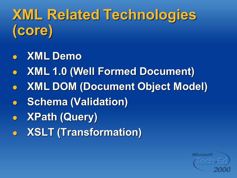 XML Related Technologies (core) XML Demo XML Demo XML 1.0 (Well Formed Document) XML 1.0 (Well Formed Document) XML DOM (Document Object Model) XML DOM (Document Object Model) Schema (Validation) Schema (Validation) XPath (Query) XPath (Query) XSLT (Transformation) XSLT (Transformation)