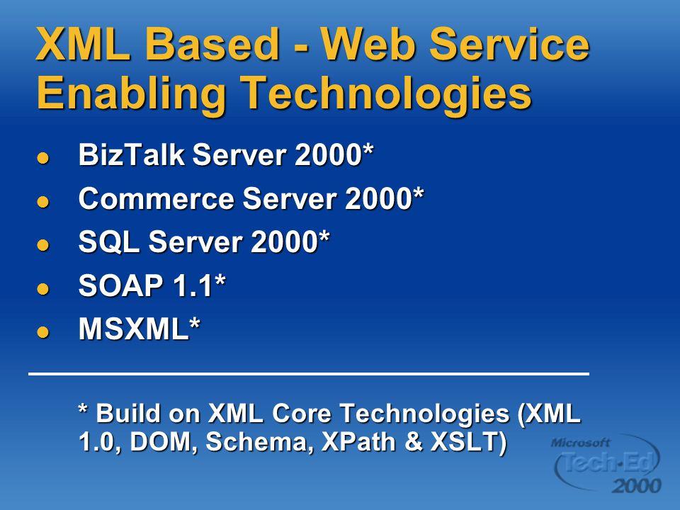 XML Based - Web Service Enabling Technologies BizTalk Server 2000* BizTalk Server 2000* Commerce Server 2000* Commerce Server 2000* SQL Server 2000* SQL Server 2000* SOAP 1.1* SOAP 1.1* MSXML* MSXML* * Build on XML Core Technologies (XML 1.0, DOM, Schema, XPath & XSLT)