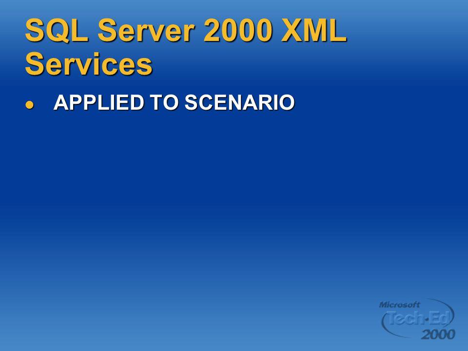 SQL Server 2000 XML Services APPLIED TO SCENARIO APPLIED TO SCENARIO