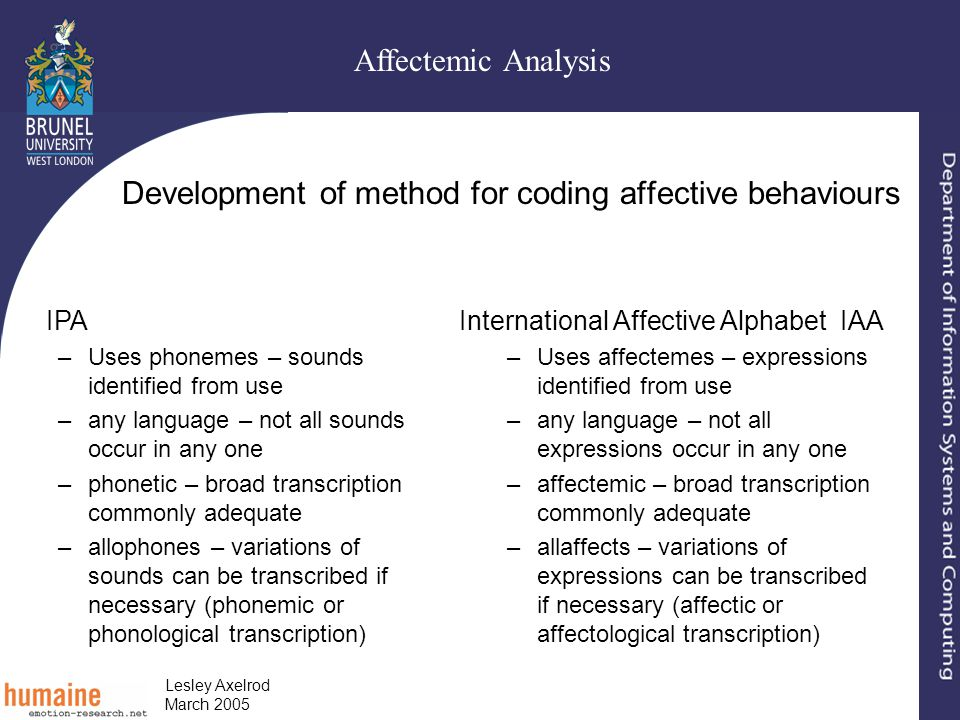 Affectemic Analysis Lesley Axelrod March 2005 Development of method for coding affective behaviours IPA –Uses phonemes – sounds identified from use –any language – not all sounds occur in any one –phonetic – broad transcription commonly adequate –allophones – variations of sounds can be transcribed if necessary (phonemic or phonological transcription) International Affective Alphabet IAA –Uses affectemes – expressions identified from use –any language – not all expressions occur in any one –affectemic – broad transcription commonly adequate –allaffects – variations of expressions can be transcribed if necessary (affectic or affectological transcription)