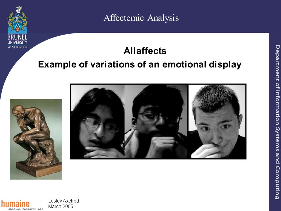 Affectemic Analysis Lesley Axelrod March 2005 Allaffects Example of variations of an emotional display