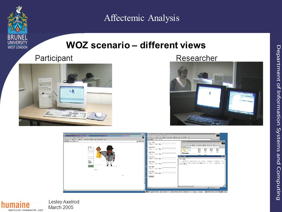 Affectemic Analysis Lesley Axelrod March 2005 WOZ scenario – different views ParticipantResearcher