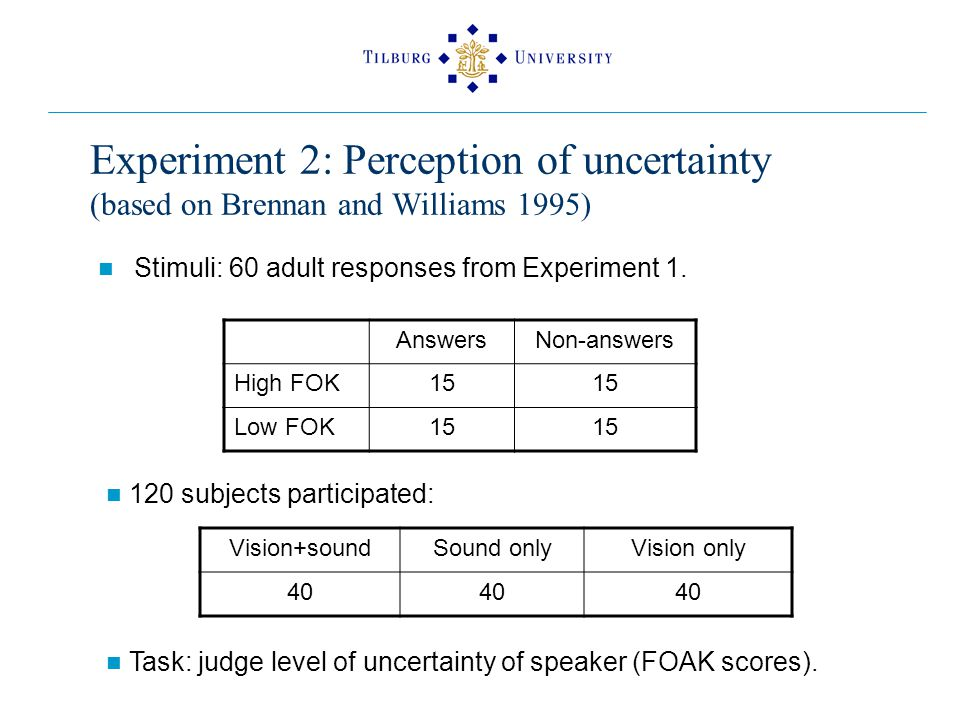 Experiment 2: Perception of uncertainty (based on Brennan and Williams 1995) Stimuli: 60 adult responses from Experiment 1.