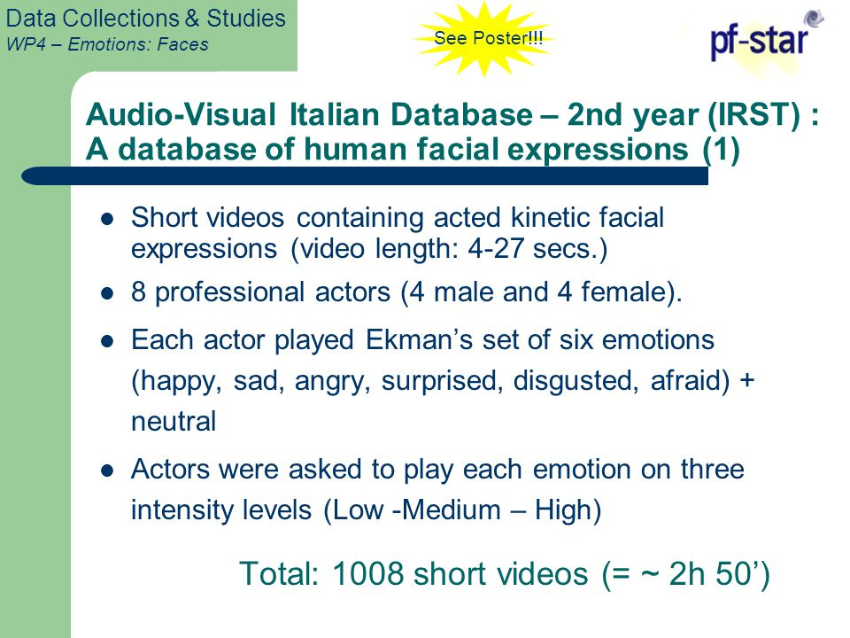 Data Collections & Studies WP4 – Emotions: Faces Short videos containing acted kinetic facial expressions (video length: 4-27 secs.) 8 professional actors (4 male and 4 female).