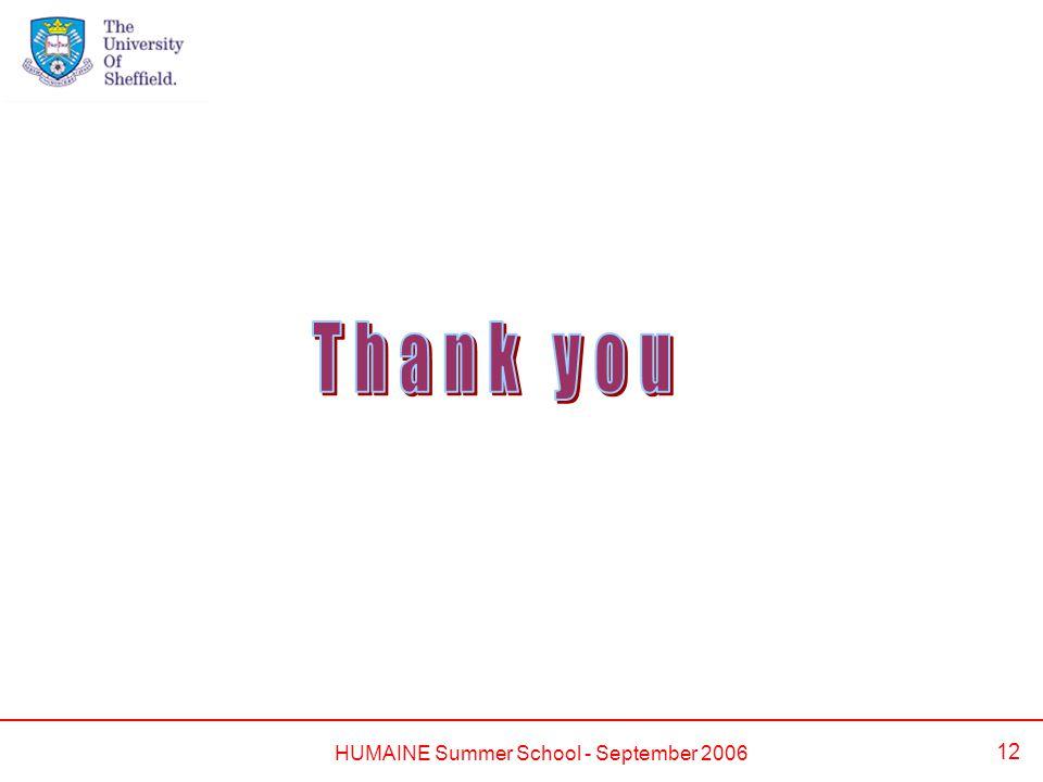 HUMAINE Summer School - September 2006 12