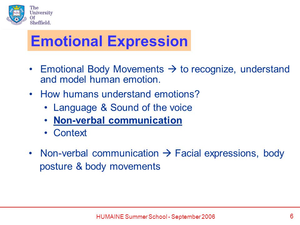 HUMAINE Summer School - September 2006 6 Emotional Body Movements  to recognize, understand and model human emotion.