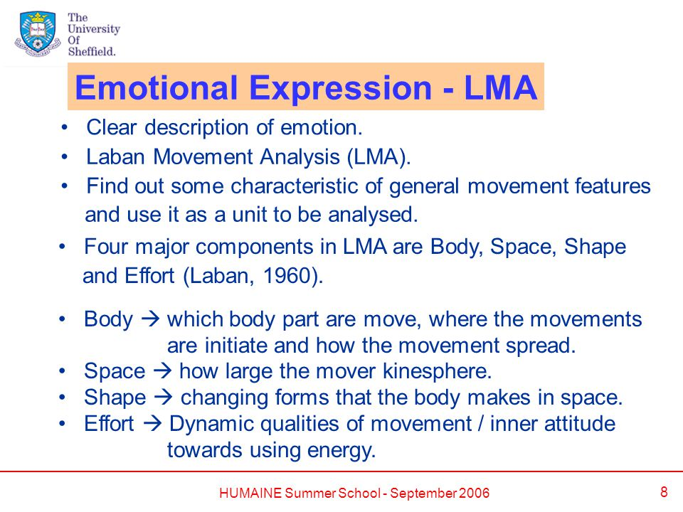 HUMAINE Summer School - September 2006 8 Emotional Expression - LMA Clear description of emotion. Laban Movement Analysis (LMA). Find out some charact