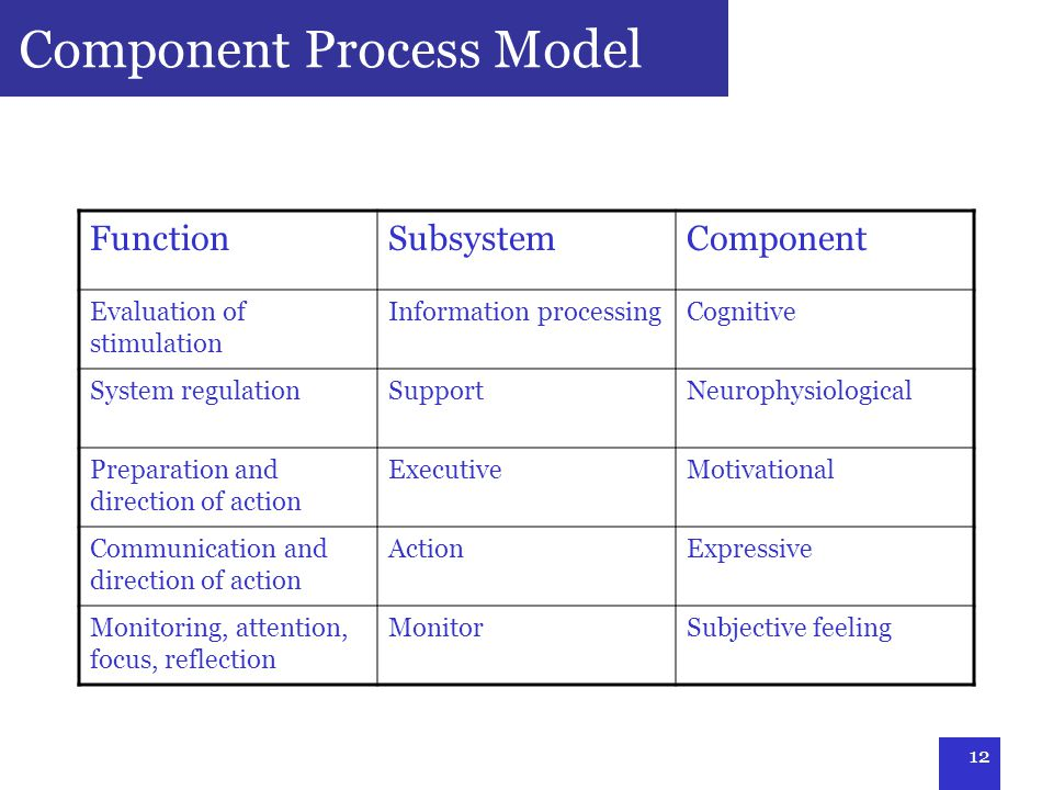 12 Component Process Model FunctionSubsystemComponent Evaluation of stimulation Information processingCognitive System regulationSupportNeurophysiological Preparation and direction of action ExecutiveMotivational Communication and direction of action ActionExpressive Monitoring, attention, focus, reflection MonitorSubjective feeling
