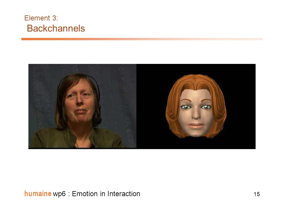 14 humaine wp6 : Emotion in Interaction Element 3: Backchannels: Dialogue Management Integration of the various components of a dialogue system capabl