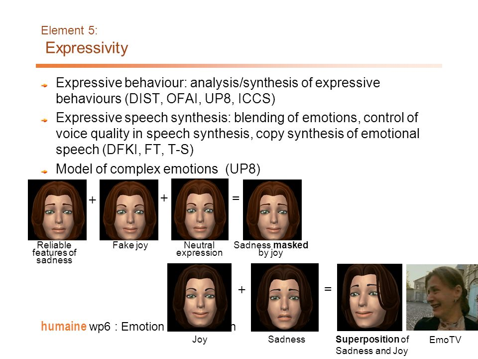 17 humaine wp6 : Emotion in Interaction Element 4: Coordination of signs in multiple modalities Models of individual expressive behaviors in each moda