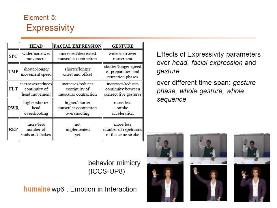18 humaine wp6 : Emotion in Interaction Element 5: Expressivity Expressive behaviour: analysis/synthesis of expressive behaviours (DIST, OFAI, UP8, IC