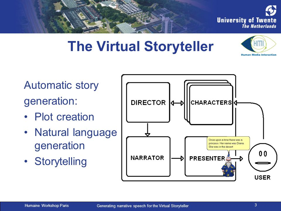 Humaine Workshop Paris Generating narrative speech for the Virtual Storyteller 3 The Virtual Storyteller Automatic story generation: Plot creation Natural language generation Storytelling