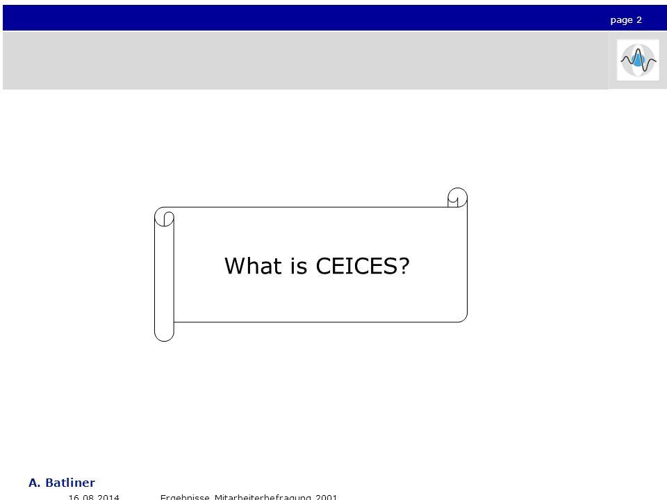 Seite 2 A. Batliner Click to edit Master title style 16.08.2014Ergebnisse Mitarbeiterbefragung 2001 page 2 What is CEICES?