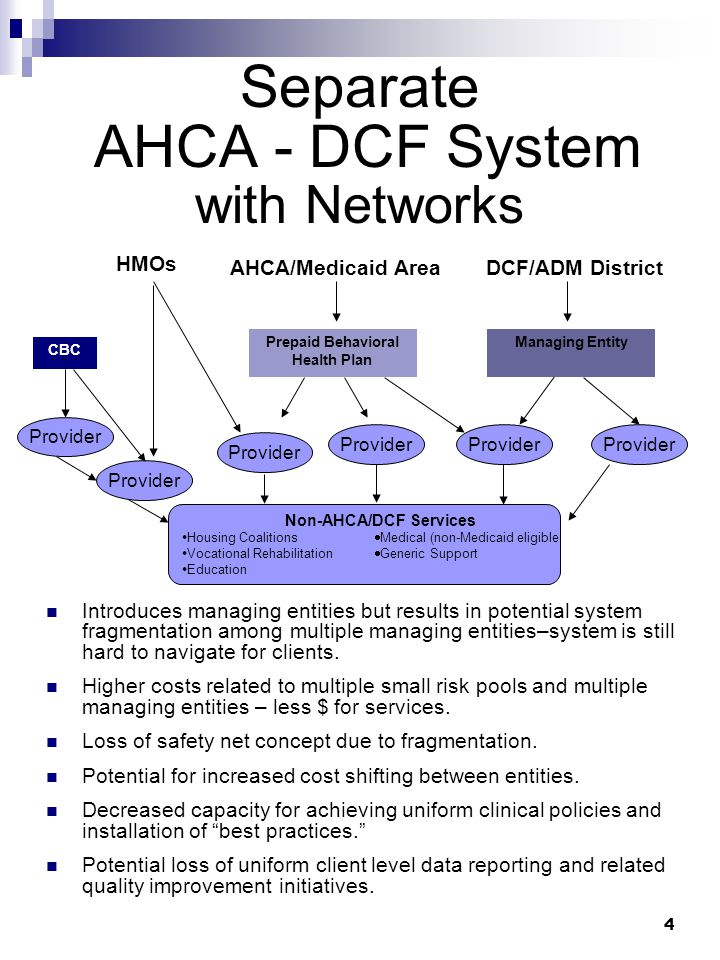 4 Separate AHCA - DCF System with Networks Introduces managing entities but results in potential system fragmentation among multiple managing entities–system is still hard to navigate for clients.