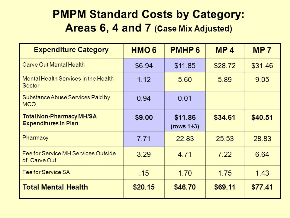 PMPM Standard Costs by Category: Areas 6, 4 and 7 (Case Mix Adjusted) Expenditure Category HMO 6PMHP 6MP 4MP 7 Carve Out Mental Health $6.94$11.85$28.72$31.46 Mental Health Services in the Health Sector 1.125.605.899.05 Substance Abuse Services Paid by MCO 0.940.01 Total Non-Pharmacy MH/SA Expenditures in Plan $9.00$11.86 (rows 1+3) $34.61$40.51 Pharmacy 7.7122.8325.5328.83 Fee for Service MH Services Outside of Carve Out 3.294.717.226.64 Fee for Service SA.151.701.751.43 Total Mental Health$20.15$46.70$69.11$77.41