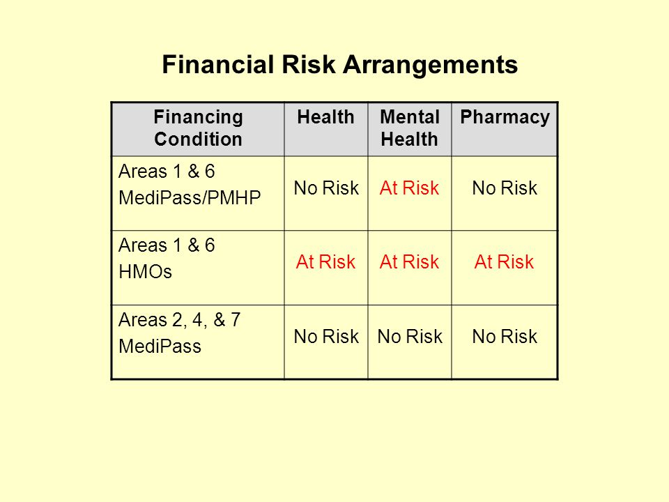 Financing Condition HealthMental Health Pharmacy Areas 1 & 6 MediPass/PMHP No RiskAt RiskNo Risk Areas 1 & 6 HMOs At Risk Areas 2, 4, & 7 MediPass No Risk Financial Risk Arrangements