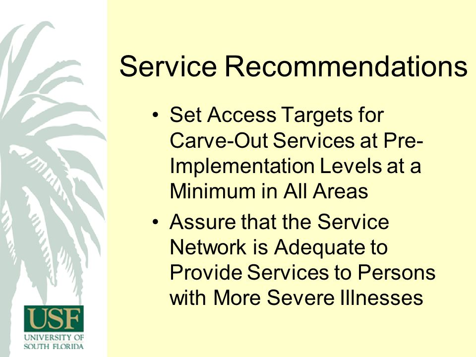 Service Recommendations Set Access Targets for Carve-Out Services at Pre- Implementation Levels at a Minimum in All Areas Assure that the Service Network is Adequate to Provide Services to Persons with More Severe Illnesses