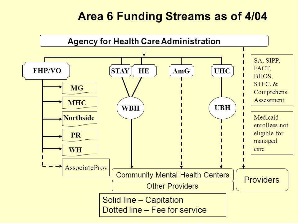 Area 6 Funding Streams as of 4/04 Agency for Health Care Administration UBH FHP/VO MG MHC Northside PR WH AmGHESTAYUHC Community Mental Health Centers AssociateProv.