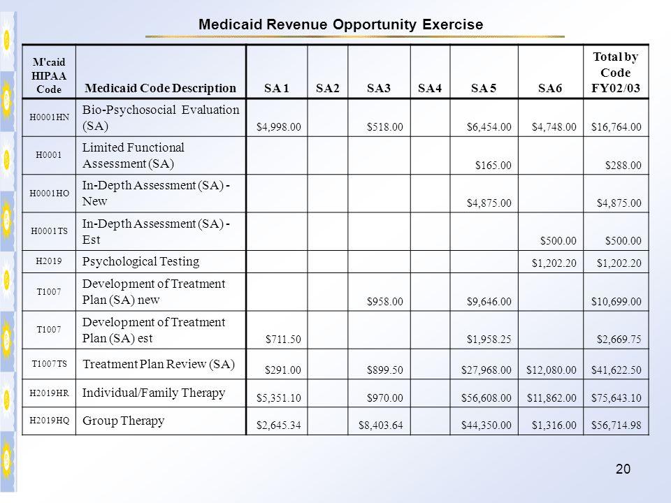 20 M'caid HIPAA Code Medicaid Code DescriptionSA 1SA2SA3SA4SA 5SA6 Total by Code FY02/03 H0001HN Bio-Psychosocial Evaluation (SA) $4,998.00 $518.00 $6