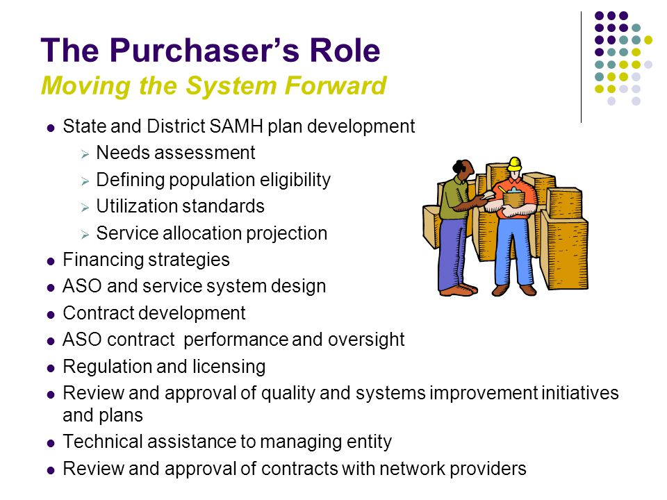 The Purchaser's Role Moving the System Forward State and District SAMH plan development  Needs assessment  Defining population eligibility  Utilization standards  Service allocation projection Financing strategies ASO and service system design Contract development ASO contract performance and oversight Regulation and licensing Review and approval of quality and systems improvement initiatives and plans Technical assistance to managing entity Review and approval of contracts with network providers