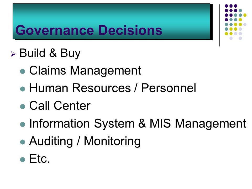 Governance Decisions  Build & Buy Claims Management Human Resources / Personnel Call Center Information System & MIS Management Auditing / Monitoring Etc.