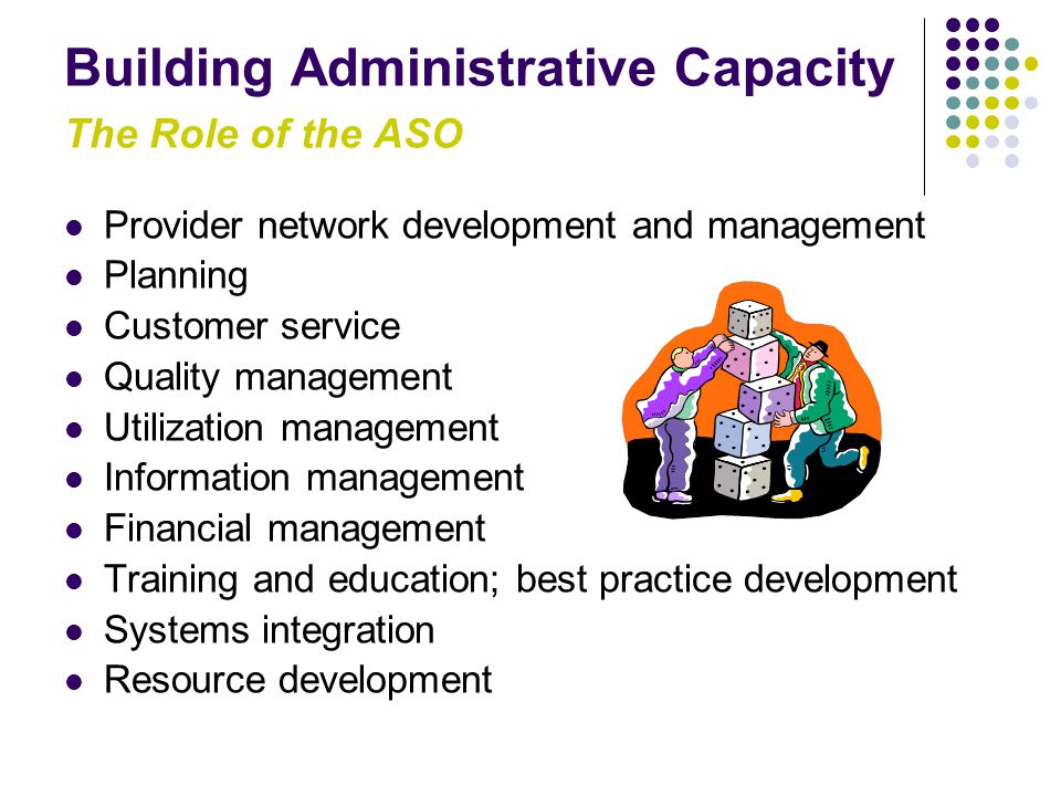 Building Administrative Capacity The Role of the ASO Provider network development and management Planning Customer service Quality management Utilization management Information management Financial management Training and education; best practice development Systems integration Resource development