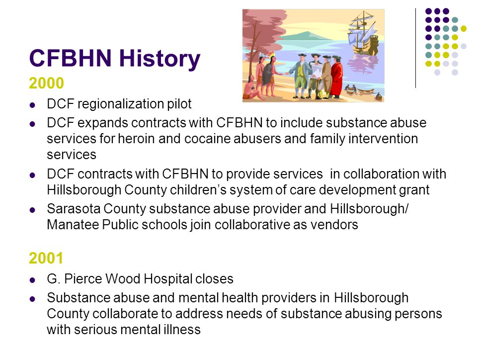 CFBHN History 2000 DCF regionalization pilot DCF expands contracts with CFBHN to include substance abuse services for heroin and cocaine abusers and family intervention services DCF contracts with CFBHN to provide services in collaboration with Hillsborough County children's system of care development grant Sarasota County substance abuse provider and Hillsborough/ Manatee Public schools join collaborative as vendors 2001 G.
