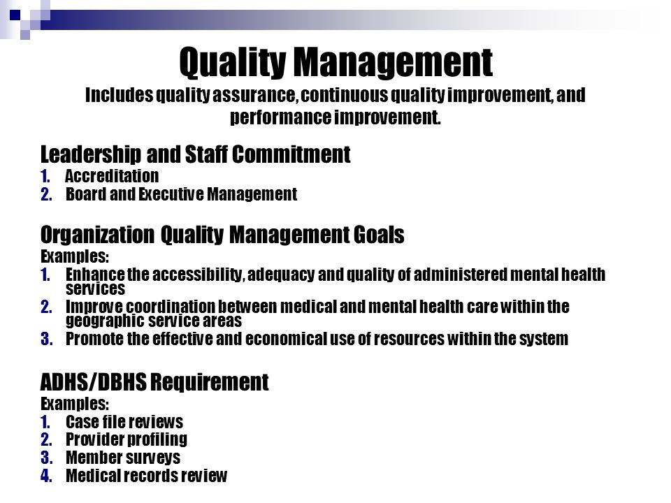 Quality Management Includes quality assurance, continuous quality improvement, and performance improvement. Leadership and Staff Commitment 1.Accredit