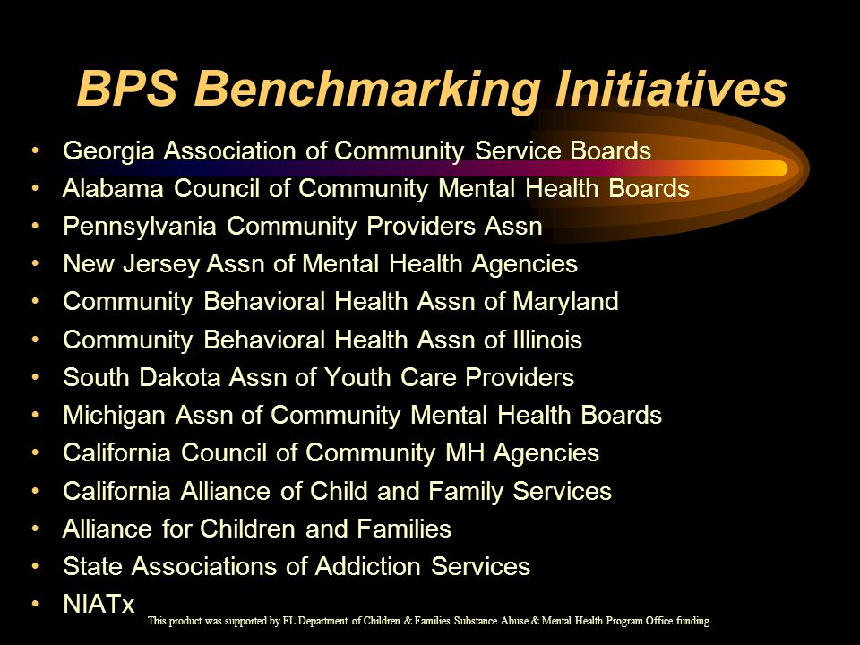 BPS Benchmarking Initiatives Georgia Association of Community Service Boards Alabama Council of Community Mental Health Boards Pennsylvania Community Providers Assn New Jersey Assn of Mental Health Agencies Community Behavioral Health Assn of Maryland Community Behavioral Health Assn of Illinois South Dakota Assn of Youth Care Providers Michigan Assn of Community Mental Health Boards California Council of Community MH Agencies California Alliance of Child and Family Services Alliance for Children and Families State Associations of Addiction Services NIATx This product was supported by FL Department of Children & Families Substance Abuse & Mental Health Program Office funding.