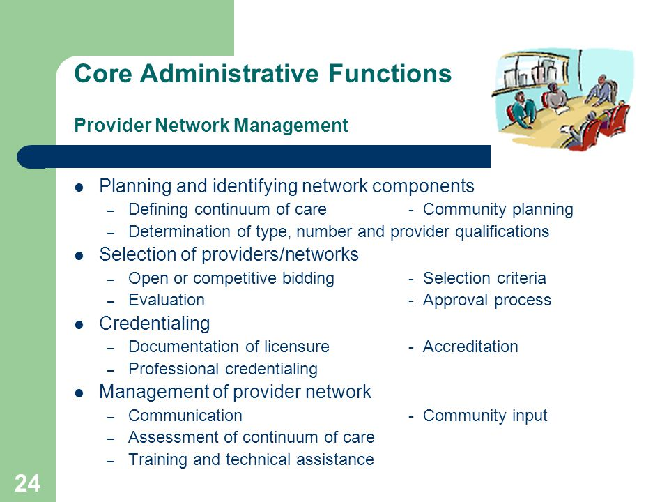 23 Core Administrative Functions Provider network management Strategic planning Customer services Quality management Utilization management Financial management Information management