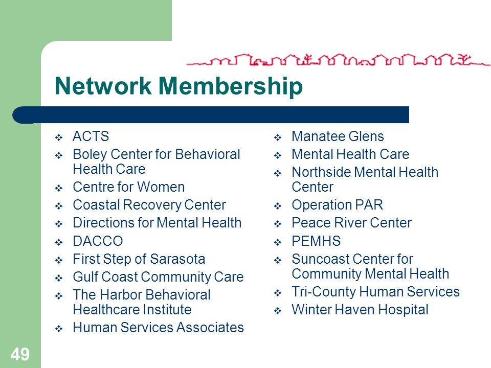 48 Inclusiveness & Provider Relations Communities, funders, persons served and providers are integral partners in the design, evaluation and support of the Network's services and service delivery structure CFBHN is a provider-sponsored network striving to meet the needs of its members by providing outstanding services and value-added benefits that clearly demonstrate the advantages of membership