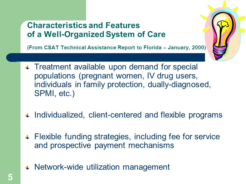 4 Characteristics and Features of a Well-Organized System of Care (From CSAT Technical Assistance Report to Florida – January, 2000) Services are organized into a simple network of care Network services are available through multiple single entry points Formal linkages exist between mental health, substance abuse and primary care Local networks are responsible for coordination of client services Case managers are identified to coordinate care Services are community-based Prevention and intervention strategies are clearly defined Stakeholders have direct input