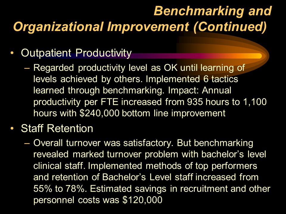 Benchmarking and Organizational Improvement (Continued)) Outpatient Productivity –Regarded productivity level as OK until learning of levels achieved by others.