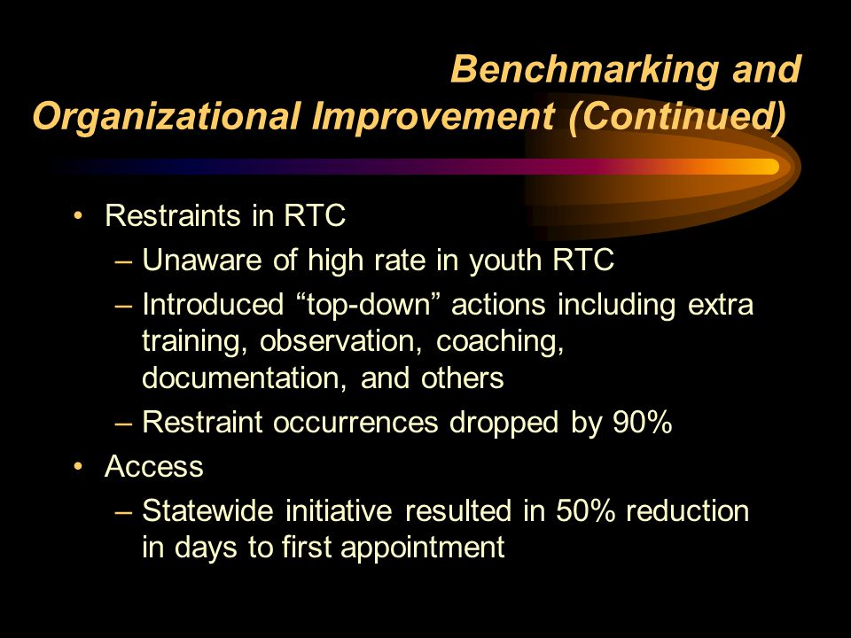 Benchmarking and Organizational Improvement (Continued)) Restraints in RTC –Unaware of high rate in youth RTC –Introduced top-down actions including extra training, observation, coaching, documentation, and others –Restraint occurrences dropped by 90% Access –Statewide initiative resulted in 50% reduction in days to first appointment