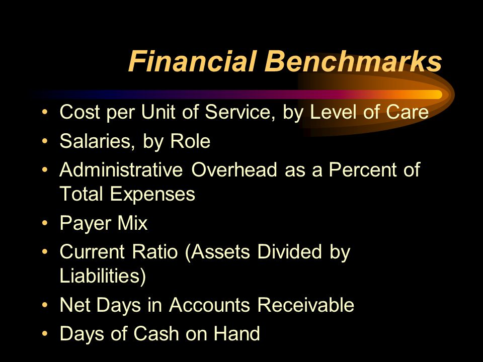Financial Benchmarks Cost per Unit of Service, by Level of Care Salaries, by Role Administrative Overhead as a Percent of Total Expenses Payer Mix Current Ratio (Assets Divided by Liabilities) Net Days in Accounts Receivable Days of Cash on Hand