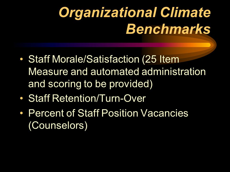 Organizational Climate Benchmarks Staff Morale/Satisfaction (25 Item Measure and automated administration and scoring to be provided) Staff Retention/Turn-Over Percent of Staff Position Vacancies (Counselors)