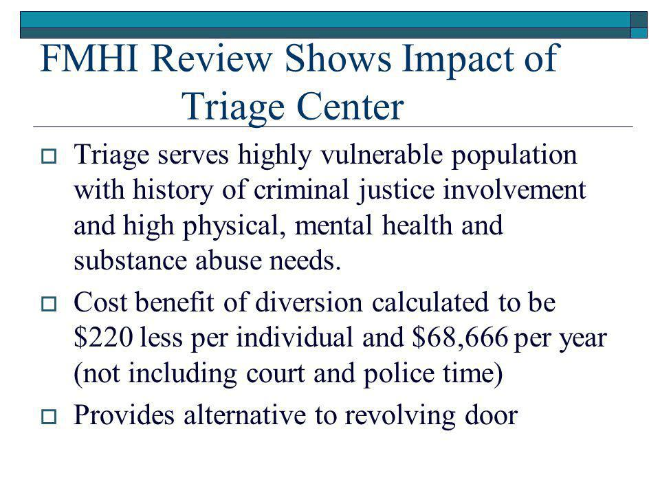 FMHI Review Shows Impact of Triage Center  Triage serves highly vulnerable population with history of criminal justice involvement and high physical, mental health and substance abuse needs.