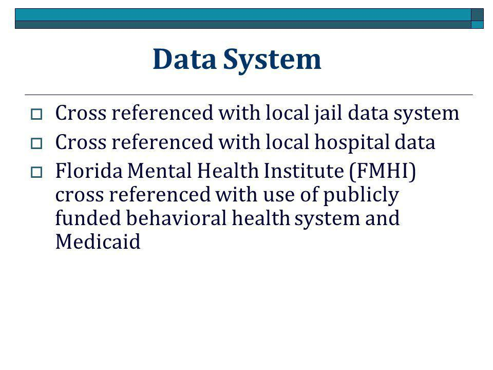 Data System  Cross referenced with local jail data system  Cross referenced with local hospital data  Florida Mental Health Institute (FMHI) cross referenced with use of publicly funded behavioral health system and Medicaid