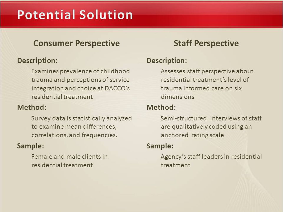 Consumer Perspective Description: Examines prevalence of childhood trauma and perceptions of service integration and choice at DACCO's residential treatment Method: Survey data is statistically analyzed to examine mean differences, correlations, and frequencies.