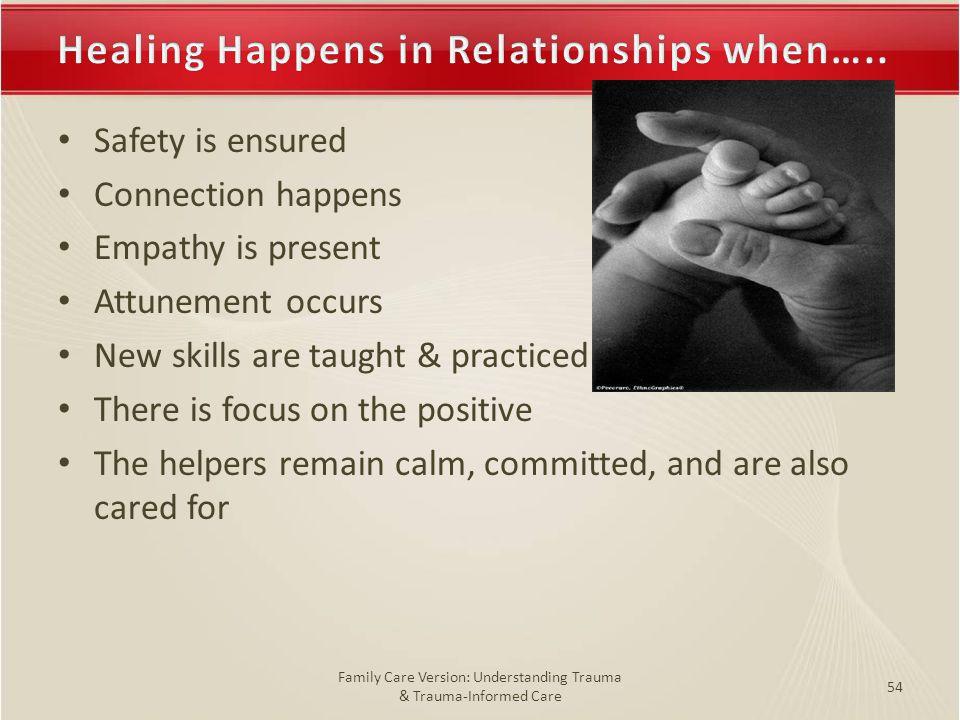 Healing Happens in Relationships when…..Healing Happens in Relationships when….. Safety is ensured Connection happens Empathy is present Attunement oc